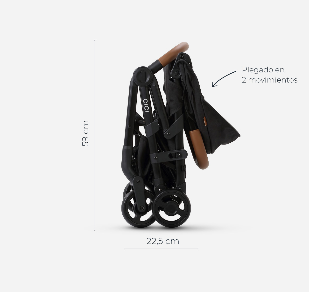 Cochecito CICI con Accesorios Negro Melange imagen 6