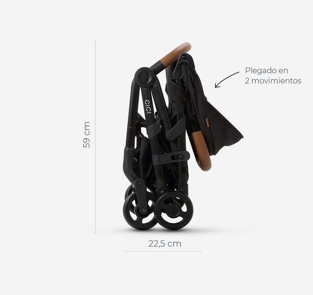 Cochecito CICI con Huevito Negro Melange imagen 9