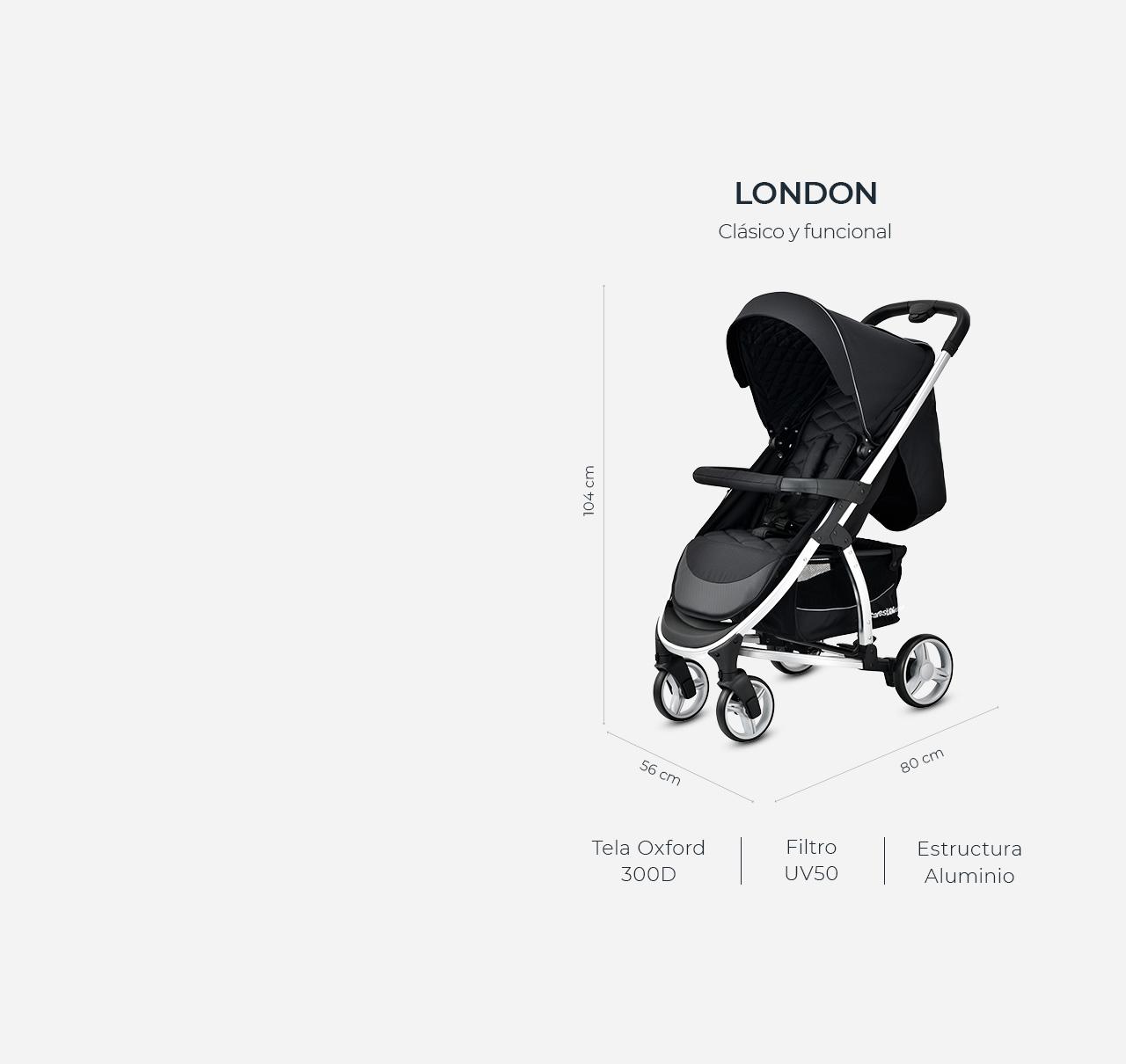 Cochecito LONDON Negro imagen 15