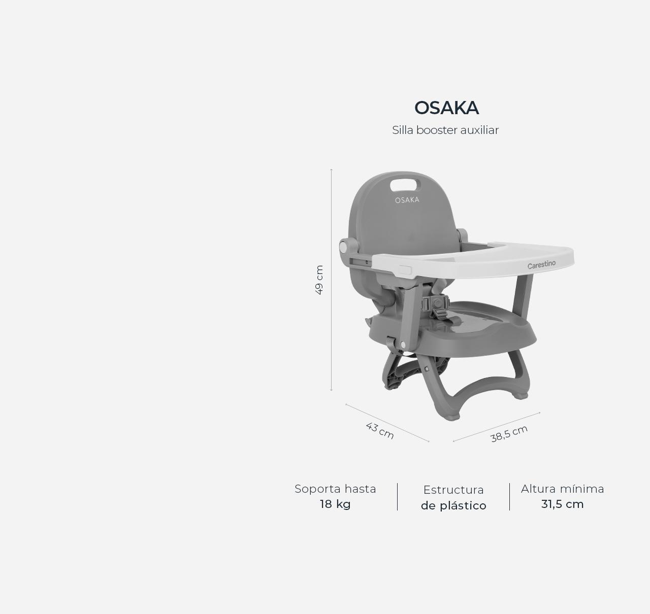 Silla de Comer OSAKA Booster Gris imagen 14